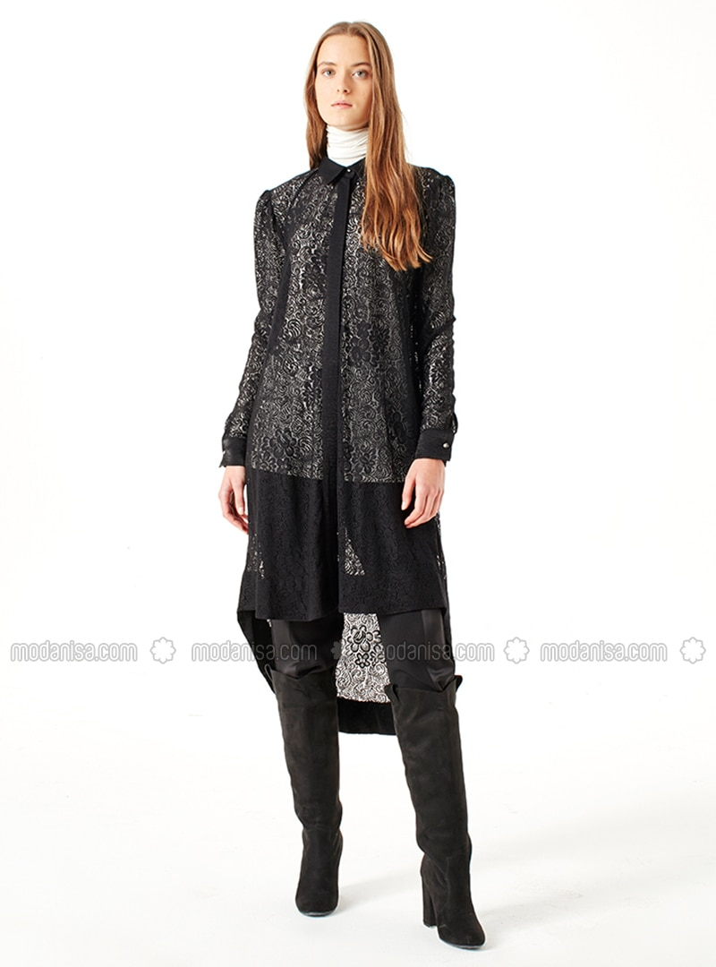 Black - Crew neck - Tunic - MİZALLE