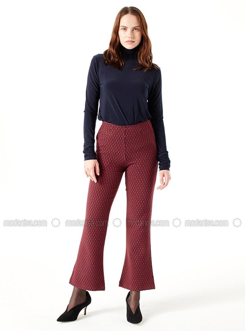Red - Multi - Pants - MİZALLE