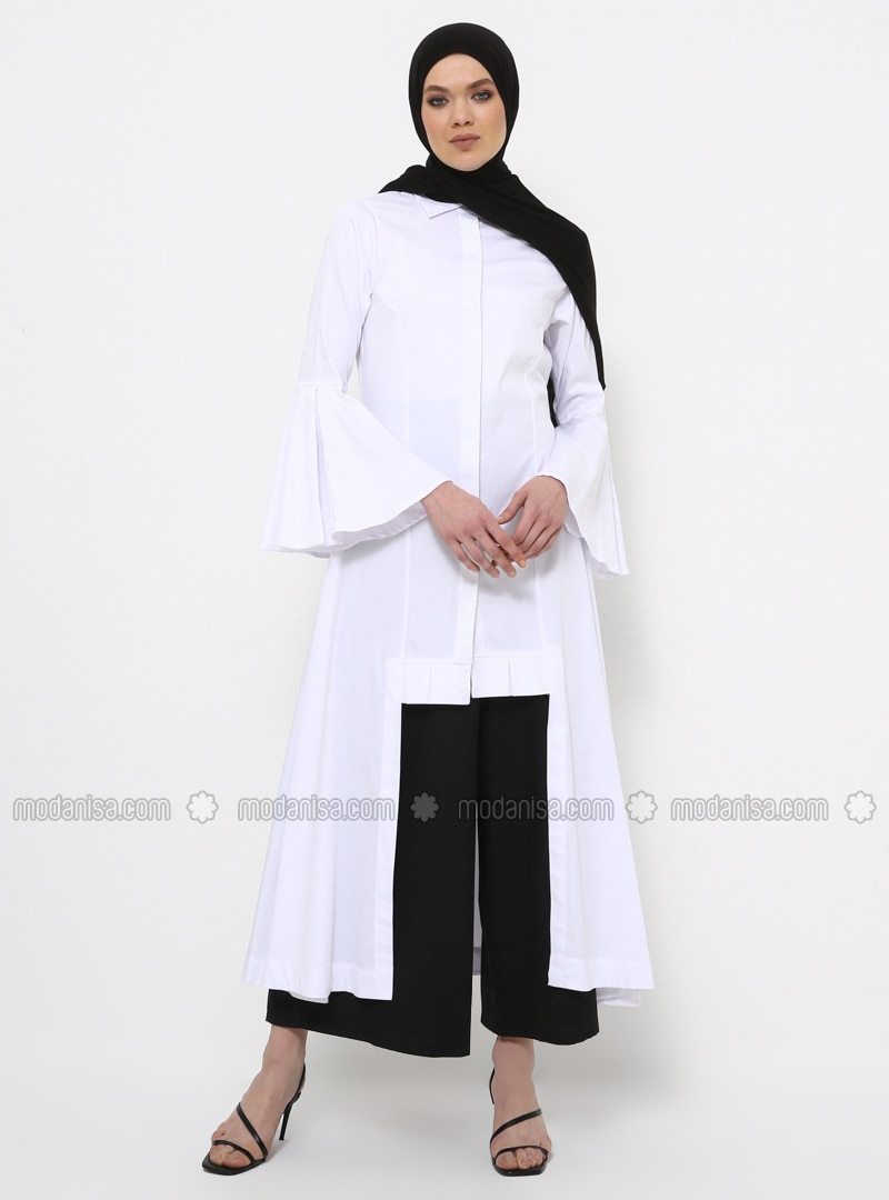 White - Button Collar - Unlined - Cotton - Dress
