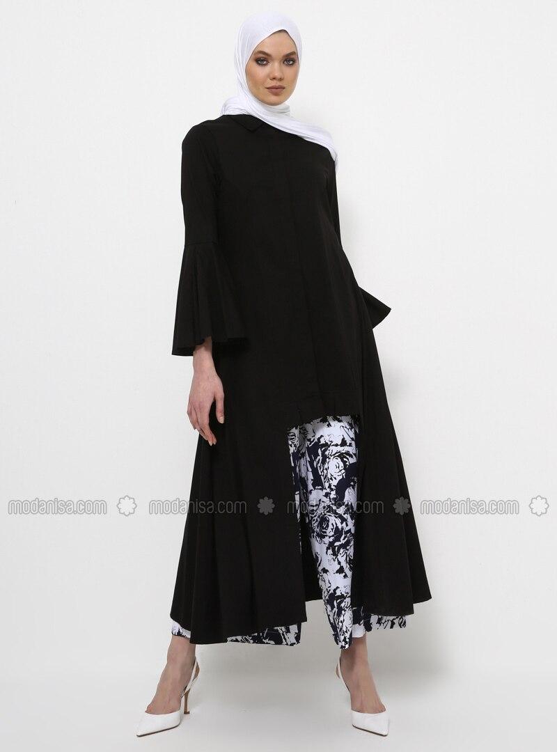 Black - Button Collar - Unlined - Cotton - Dress
