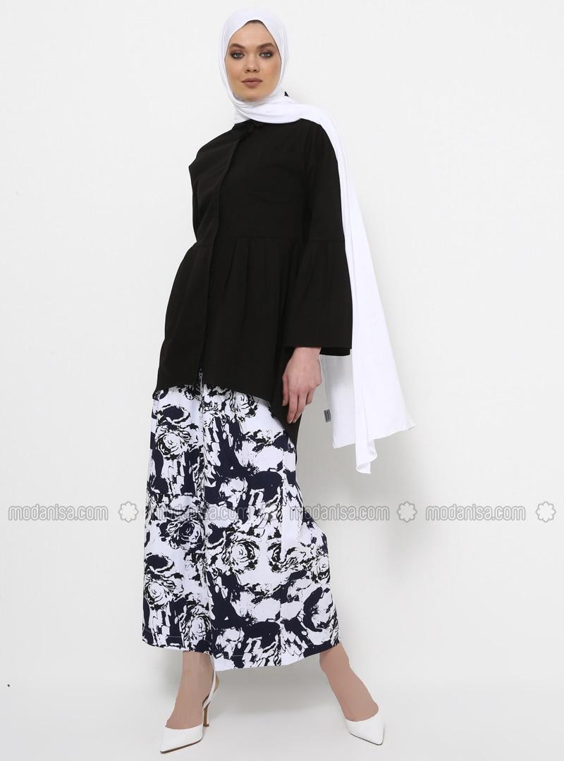 Black - Button Collar - Cotton - Tunic