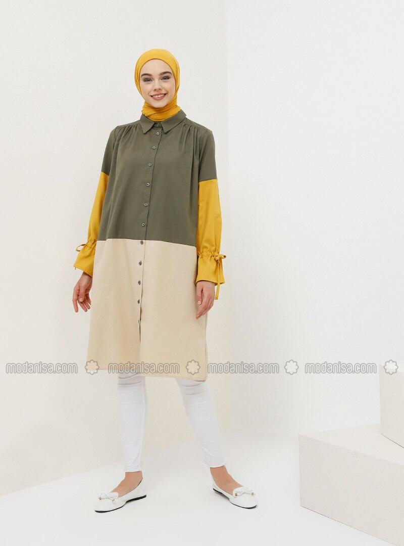 Yellow - Khaki - Point Collar - Cotton - Tunic
