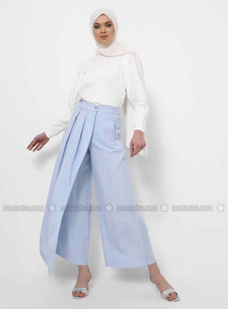 Blue - Cotton - Culottes
