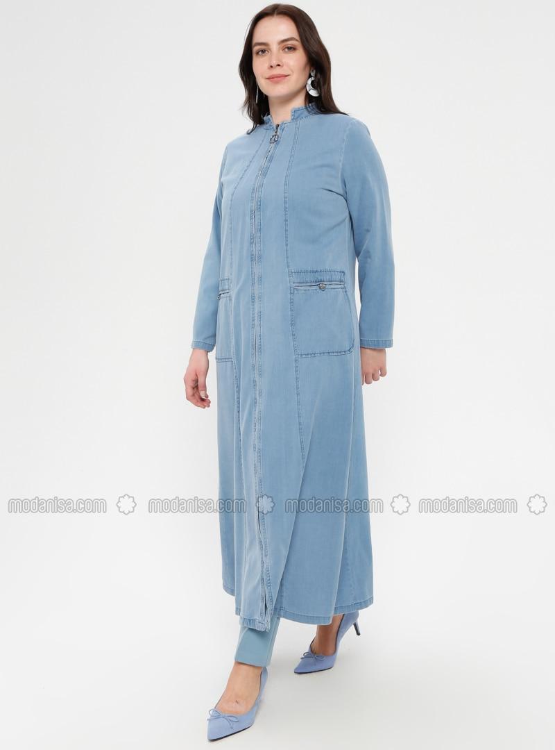 Blue - Unlined - Crew neck - Cotton - Denim - Plus Size Coat