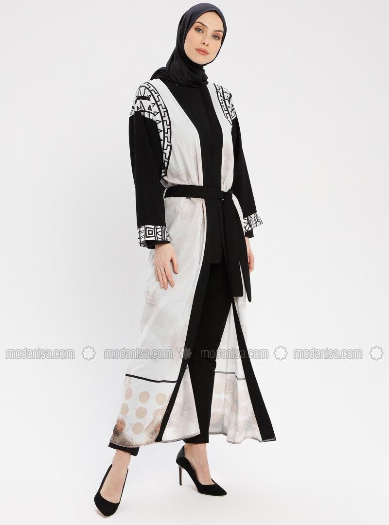 Black - White - Multi - Unlined - Shawl Collar - Abaya