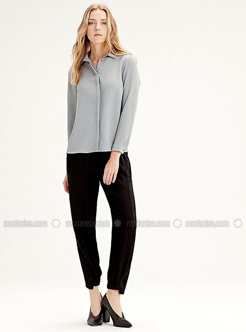 Gray - Point Collar - Blouses
