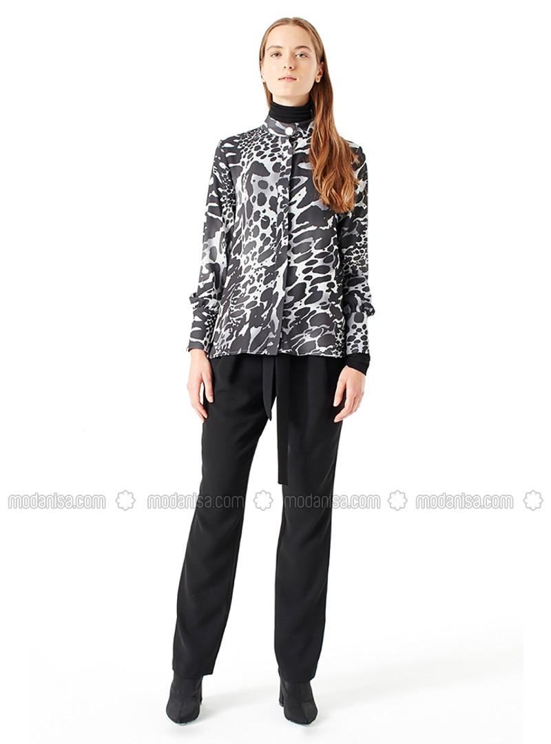 Black - Leopard - Button Collar - Blouses