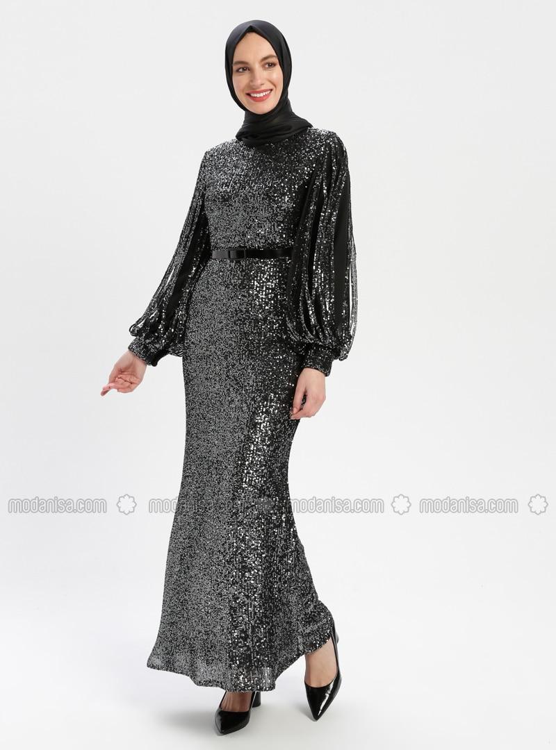 1a55e0753cc Black - Khaki - Fully Lined - Crew neck - Muslim Evening Dress