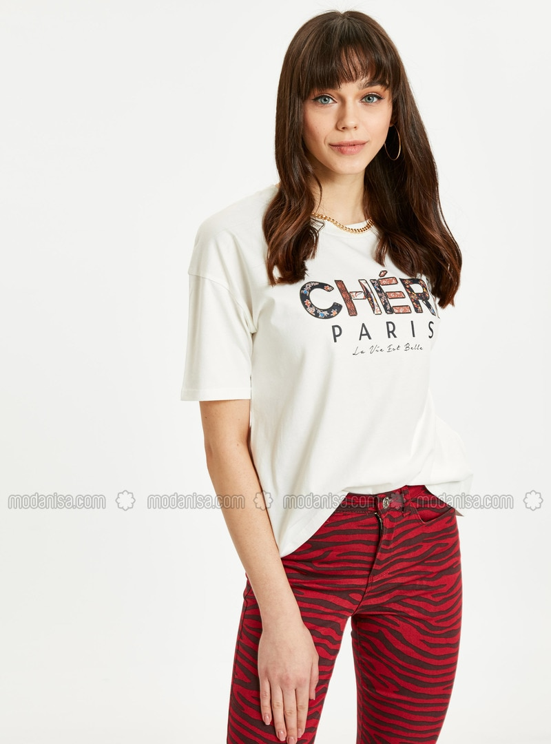 Ecru - Crew neck - T-Shirt