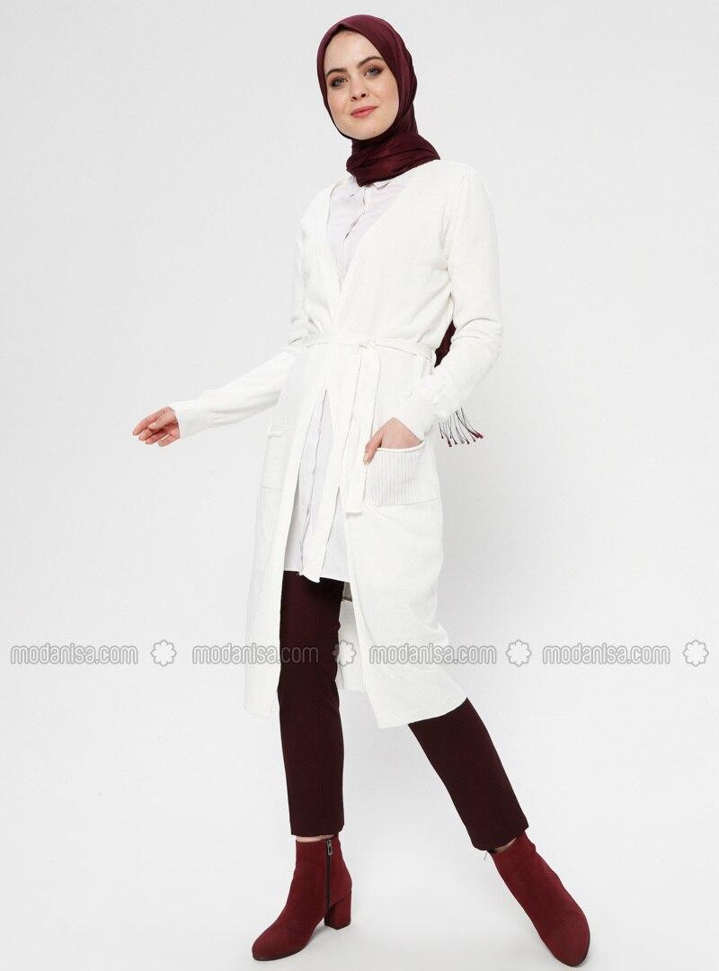 White - Ecru - Cardigan