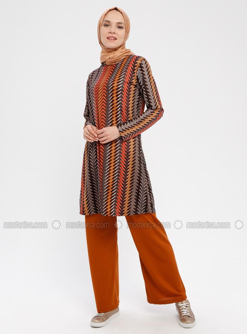 Terra Cotta - Multi - Unlined - Viscose - Suit