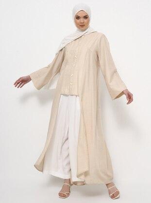 Beige - Unlined - Crew neck - Cotton - Linen - Topcoat