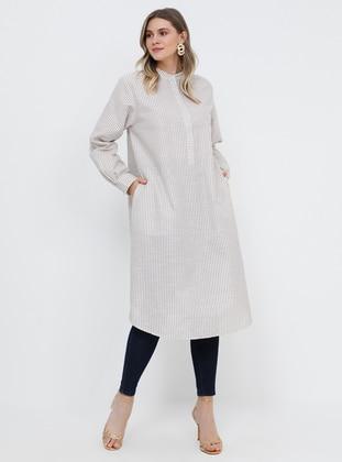 Mink - Stripe - Button Collar - Cotton - Plus Size Tunic