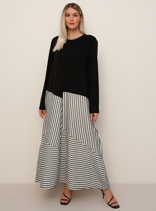 Black - White - Stripe - Unlined - Crew neck - Viscose - Plus Size Dress - Alia