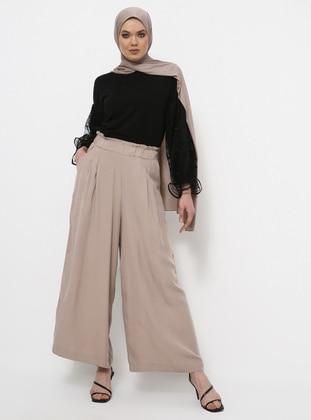 Beige - Cotton - Culottes