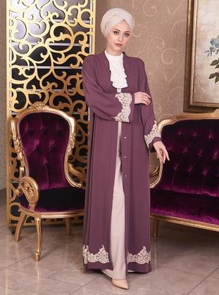 Plum - Unlined - V neck Collar - Cotton - Abaya