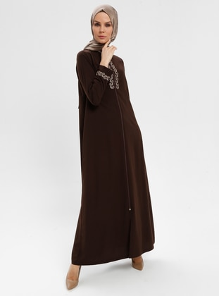 Brown - Unlined - Crew neck - Abaya - BAGİZA