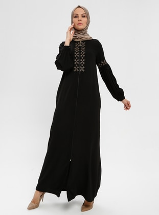 Black - Unlined - Crew neck - Abaya - BAGİZA