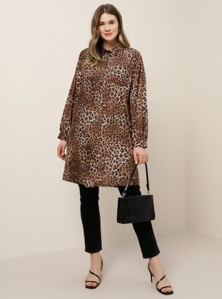 Leopard - Brown - Point Collar - Leopard - Point Collar - Plus Size Tunic