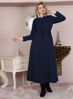 Navy Blue - Fully Lined - Crew neck - Cotton - Coat - Night Blue Collection