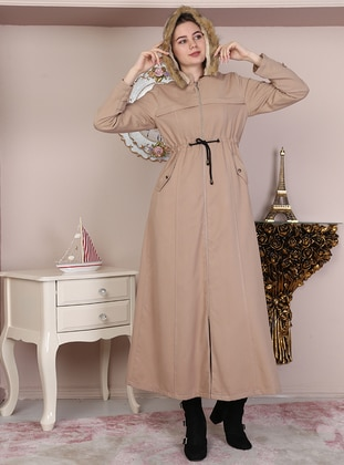 Tan - Fully Lined - Crew neck - Cotton - Coat