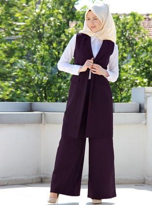 Plum - Unlined - Cotton - Vest
