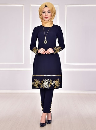 Navy Blue - Multi - Crew neck - Evening Suit - AYŞE MELEK TASARIM