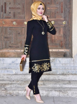 Black - Multi - Crew neck - Evening Suit - AYŞE MELEK TASARIM
