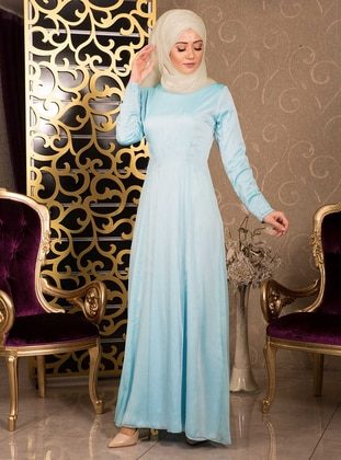 Blue - Round Collar - Fully Lined - Dress