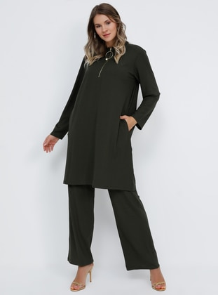 Khaki - Polo neck - Unlined - Plus Size Suit