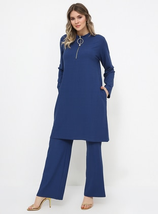 Blue - Indigo - Polo neck - Unlined - Plus Size Suit
