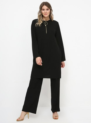 Black - Polo neck - Unlined - Plus Size Suit