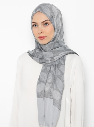 Gray - Printed - Cotton - Shawl
