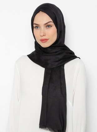 Black - Printed - Cotton - Shawl