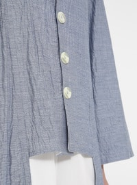 Blue - Unlined - Crew neck - Cotton - Linen - Topcoat