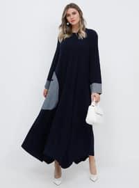 Lacivert - Astarsız kumaş - Yuvarlak yakalı - Büyük beden elbise