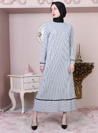 Gray - Stripe - Crew neck - Unlined - Cotton - Dress