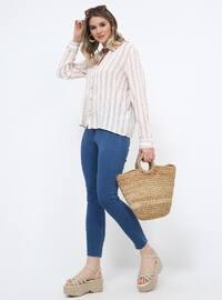 Blue - Cotton - Plus Size Pants