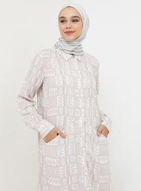 Beige - Shawl - Point Collar - Unlined - Viscose - Dress