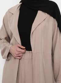 Beige - Unlined - Shawl Collar - Cotton - Topcoat