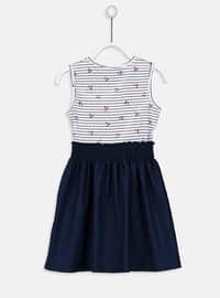 Navy Blue - Printed - Girls` Dress