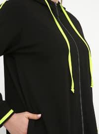 Black - Yellow - Unlined - Cotton - Plus Size Suit