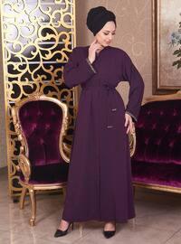 Purple - Unlined - V neck Collar - Cotton - Abaya