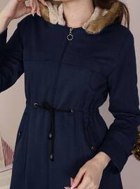 Navy Blue - Fully Lined - Crew neck - Cotton - Coat