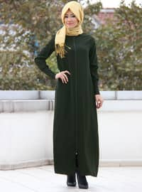 Khaki - Unlined - Crew neck - Cotton - Abaya
