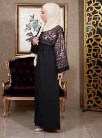 Black - Unlined - V neck Collar - Cotton - Abaya