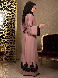 Dusty Rose - Unlined - V neck Collar - Cotton - Abaya