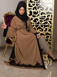 Mustard - Unlined - V neck Collar - Cotton - Abaya