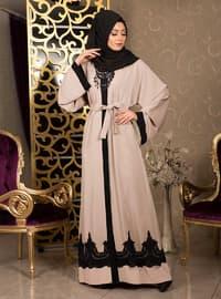 Cream - V neck Collar - Cotton - Abaya