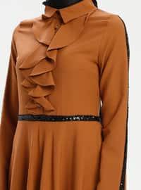 Mustard - Point Collar - Unlined - Dress